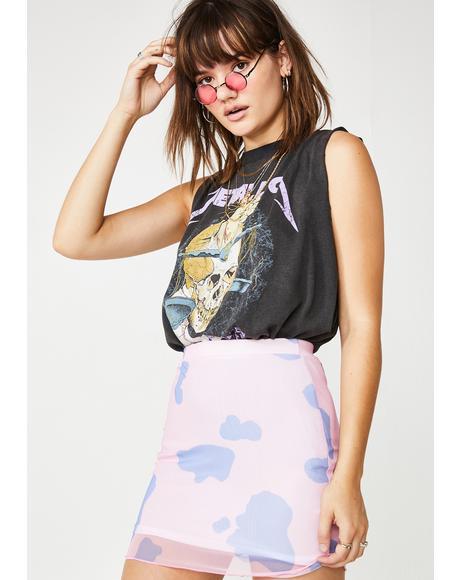 Cow Print Mesh Skirt