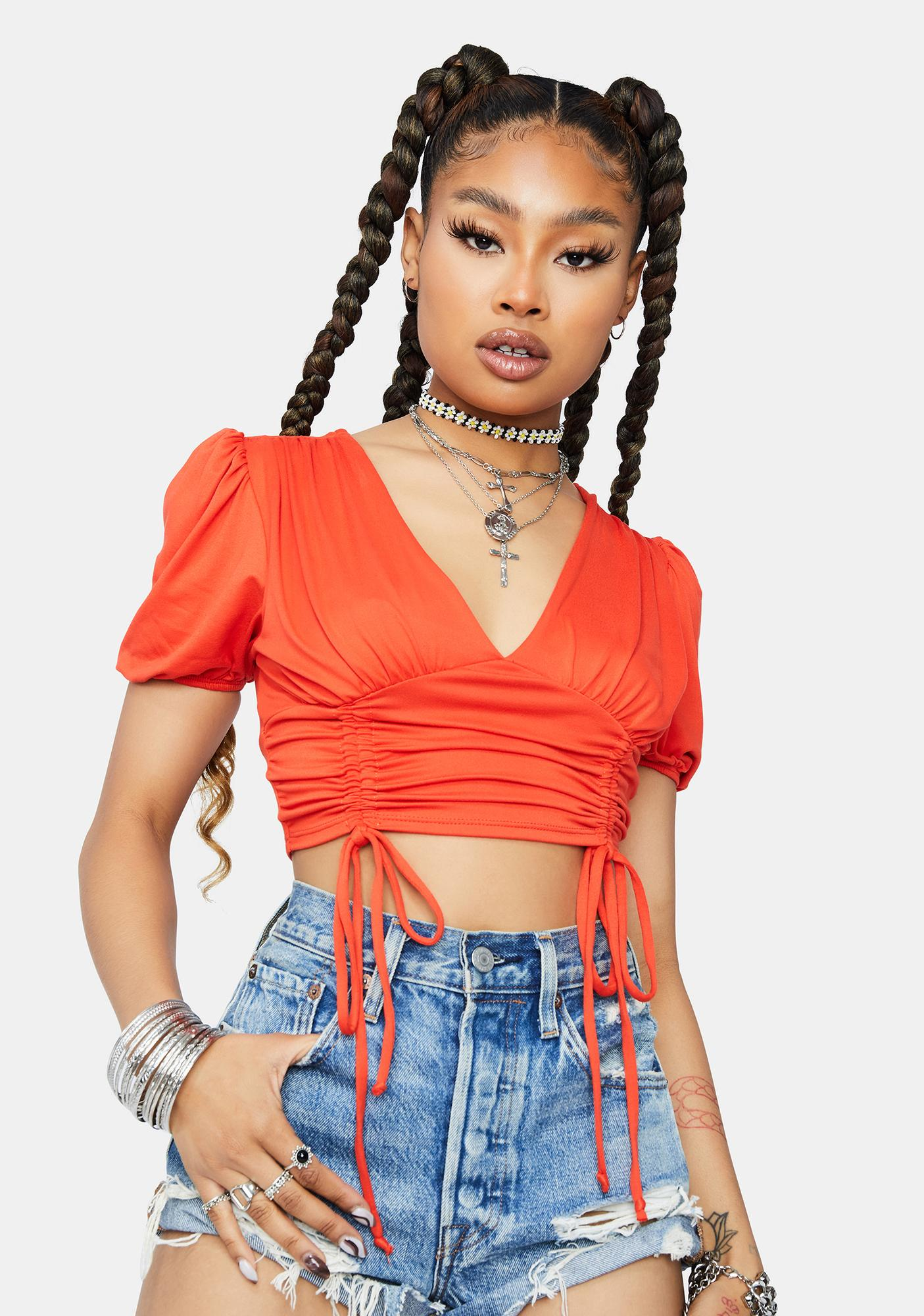 Tomato Picture Perfect Ruched Crop Top