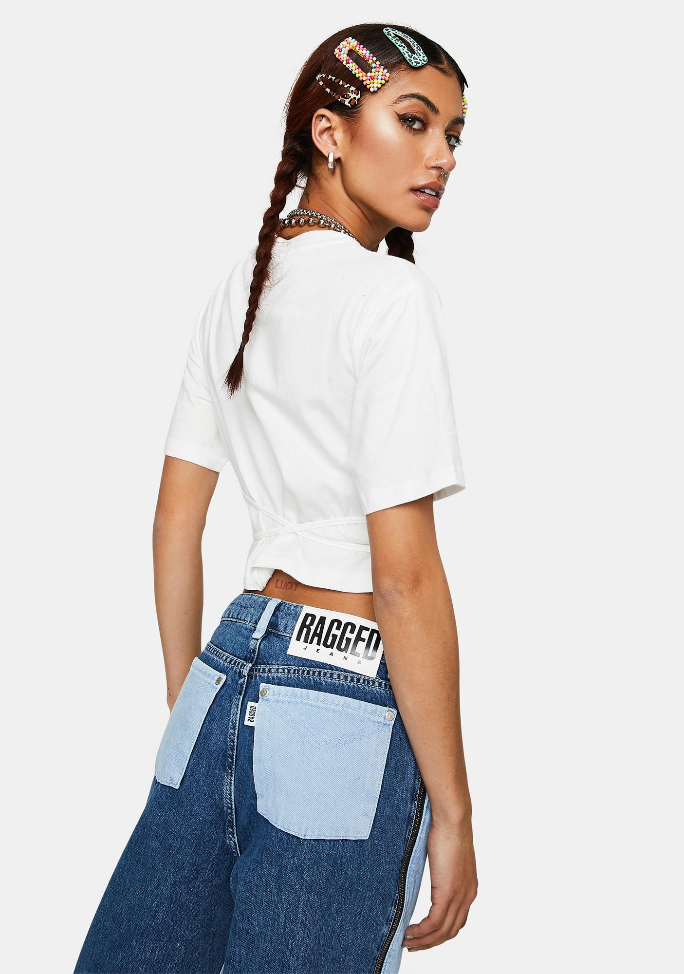The Ragged Priest Connect Lace-Up Crop Tee