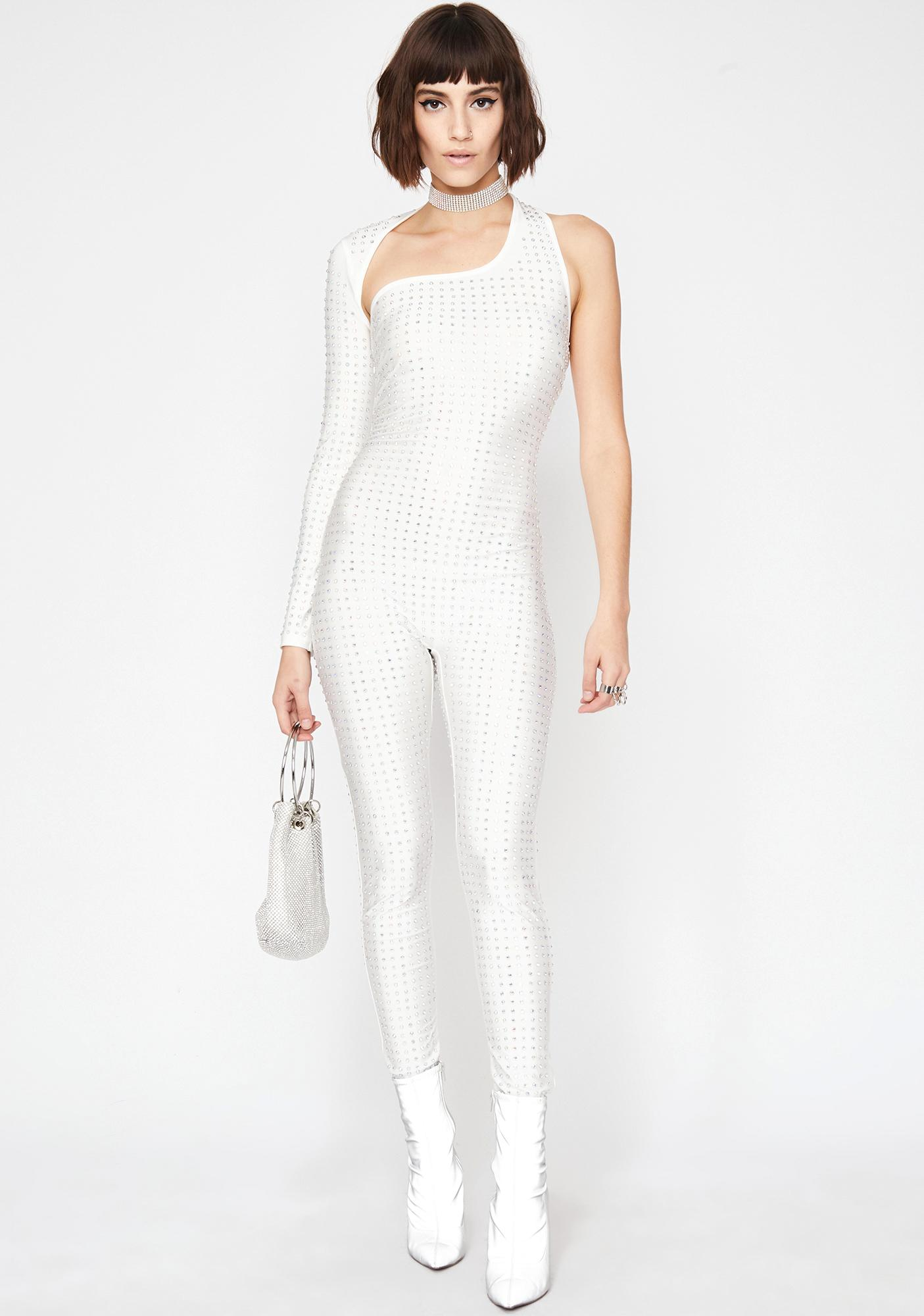 Flossy Facts Rhinestone Catsuit