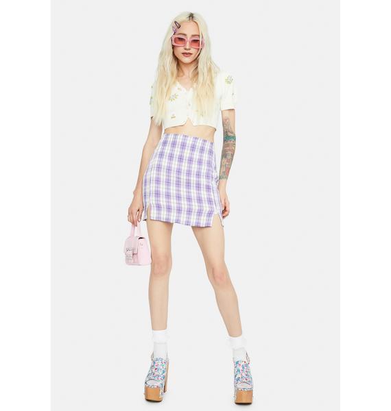 Lilac Playful in Plaid Mini Skirt