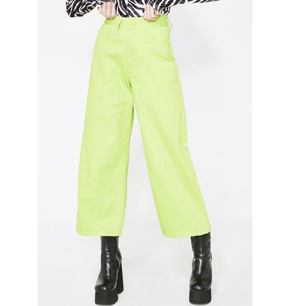 Lazy Oaf LO Lime Wide Leg Jeans