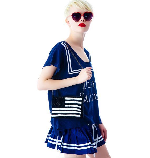 Adeen Stars and Stripes Plush Clutch