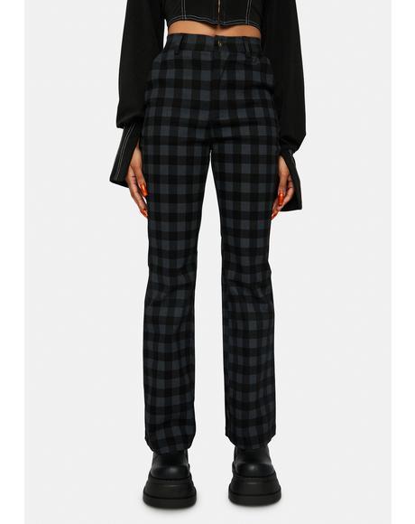 Cool Plaid High Waisted Pants