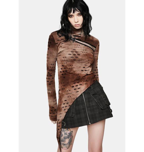 Punk Rave Brown Steampunk Asymmetrical Distressed T-Shirt