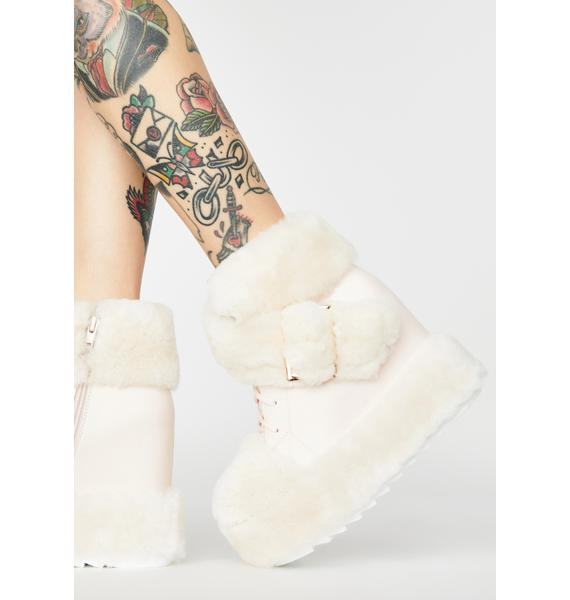 Pink Icy Baby Fuzzy Boots