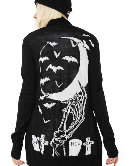 Skeleton Hand In The Moon & Graveyard Long Cardigan