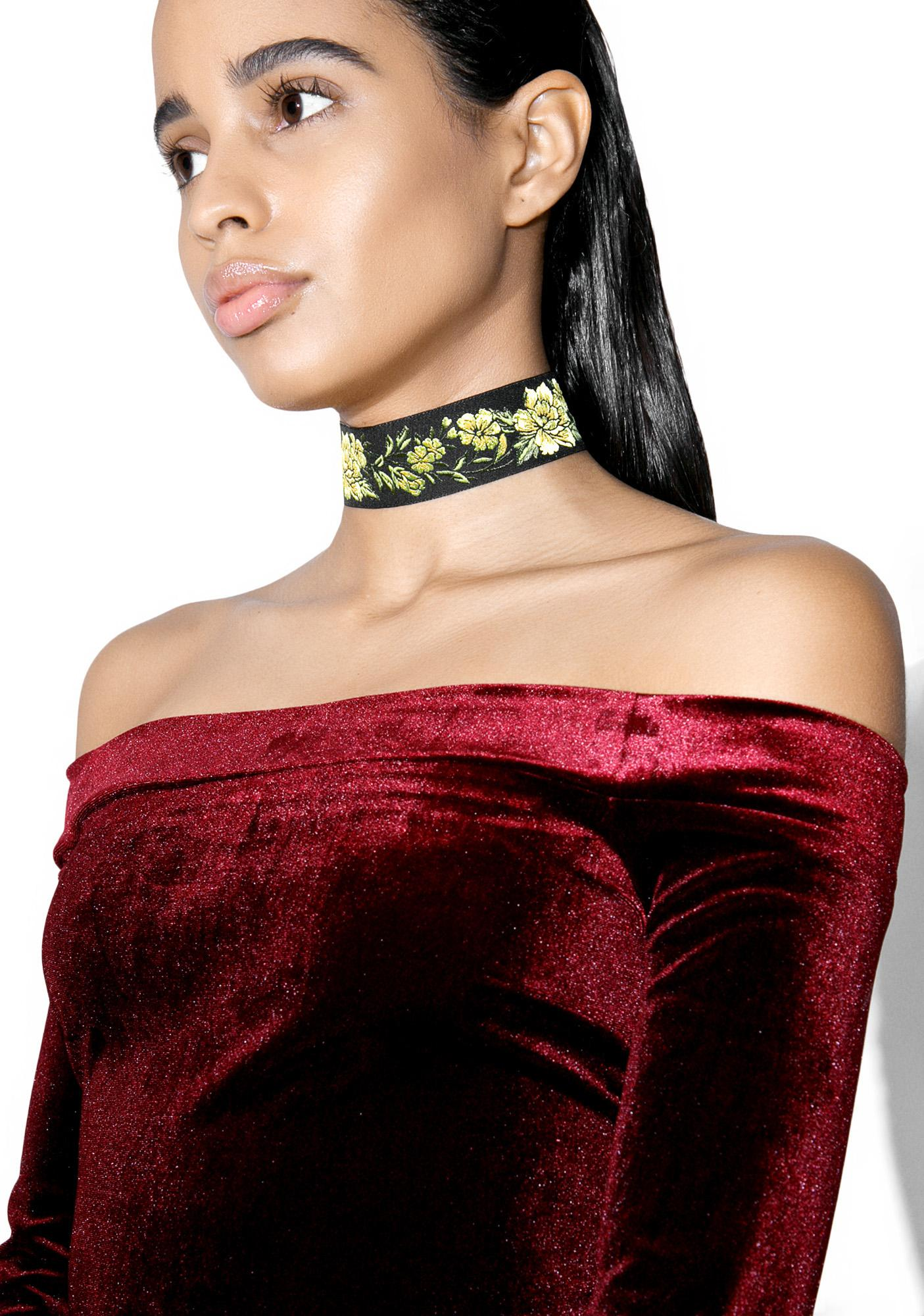 Rock n Rose Viola Wide Floral Choker