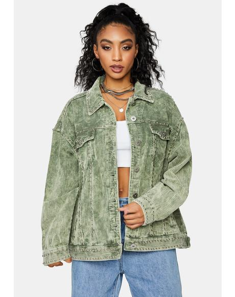 Olive Lasso The Sun Studded Corduroy Jacket