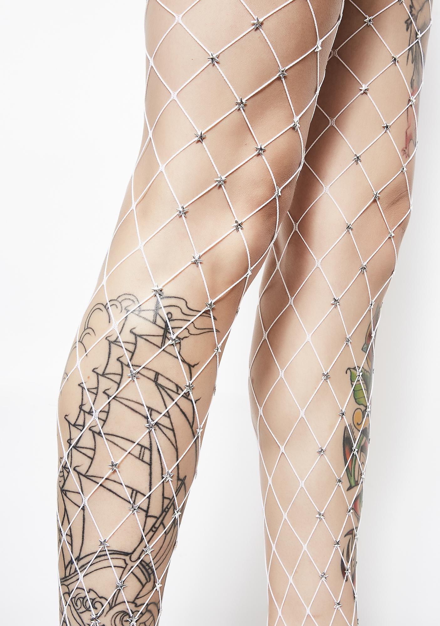 Star Foxx Embellished Fishnets