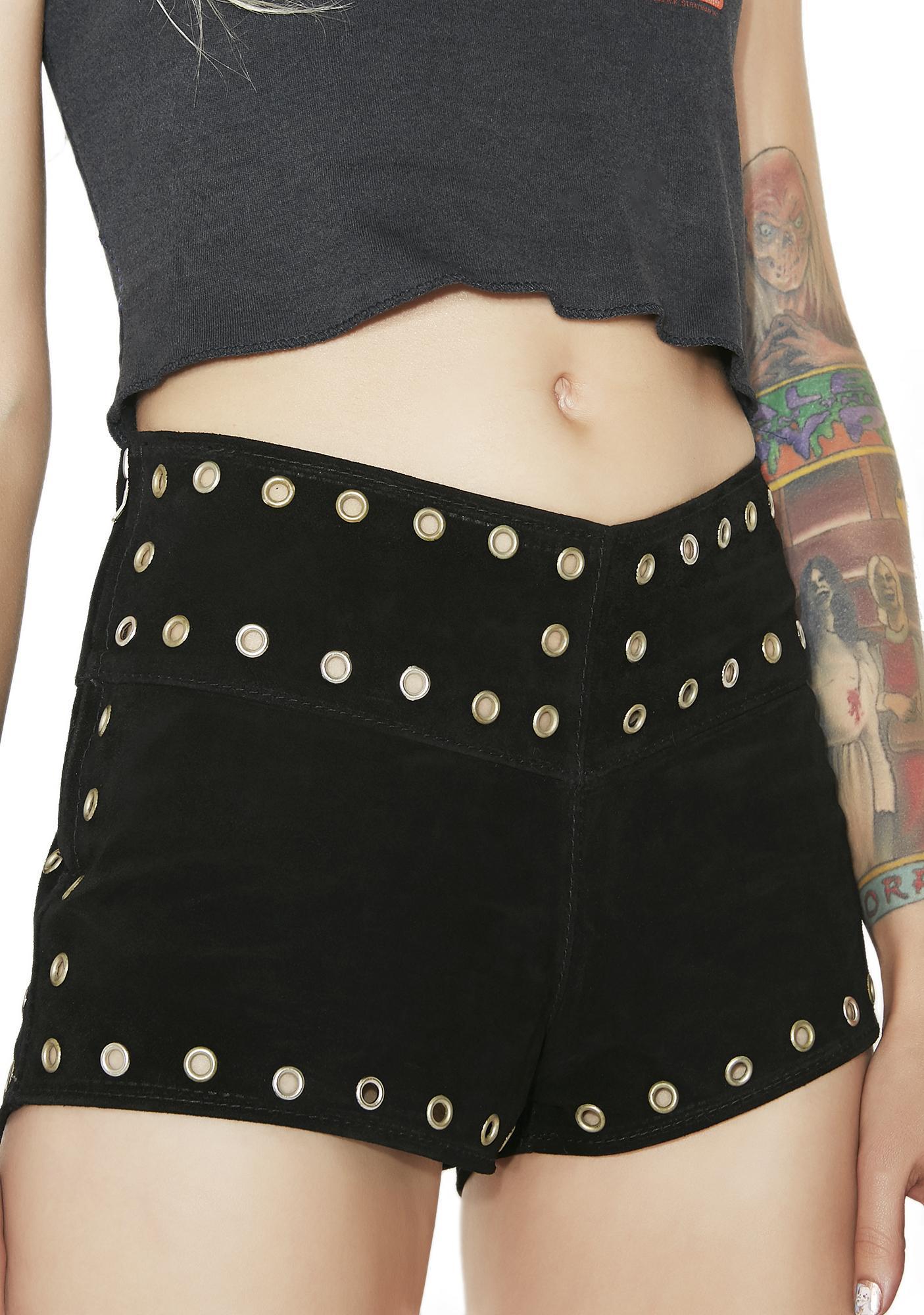 American Vintage Black Suede Grommet Shorts