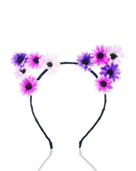 Purple Floral Kitty Ears