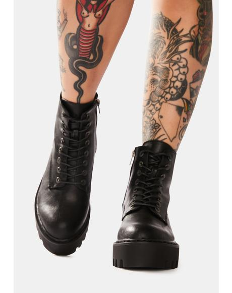 Night Bikers Mischief Lace Up Boots