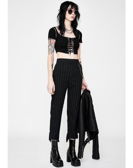 Back To Biz Pinstripe Trousers