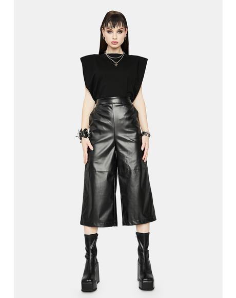 Front Row Vegan Leather Culottes