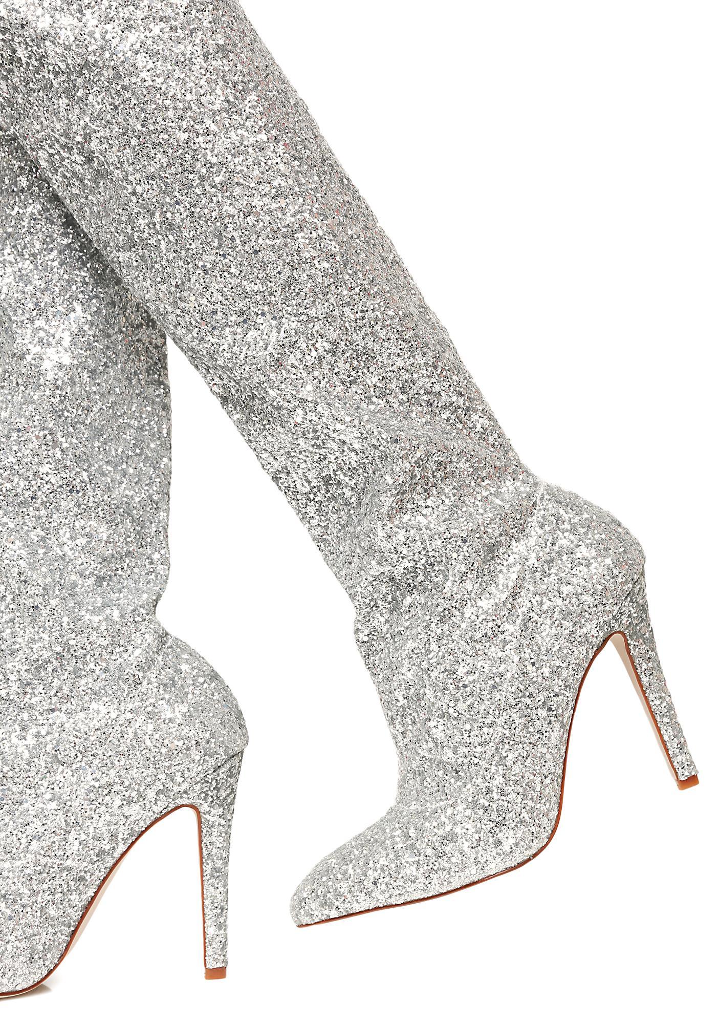 glitter thigh high silver boots dolls kill