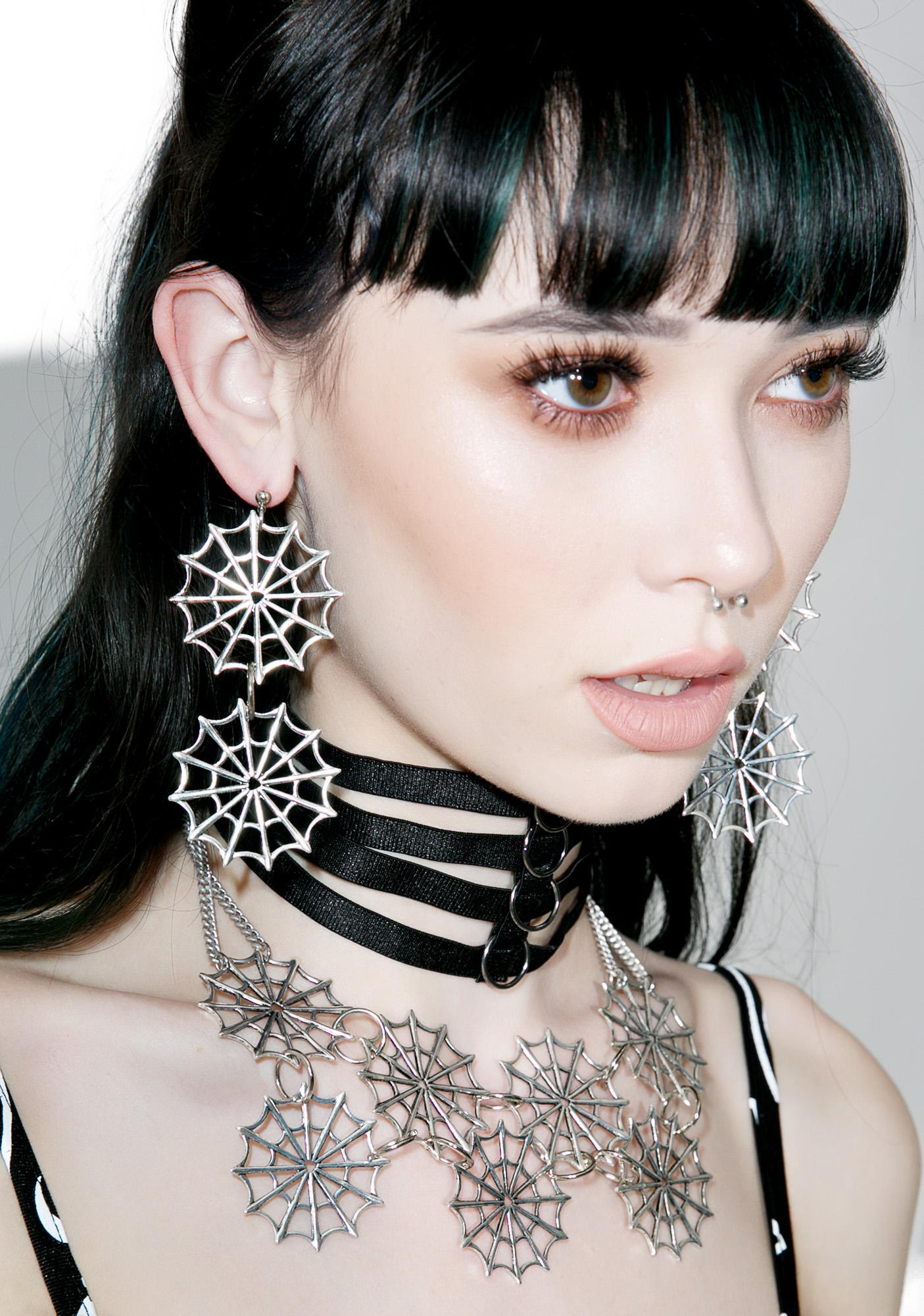 Regal Rose Double Web Earrings