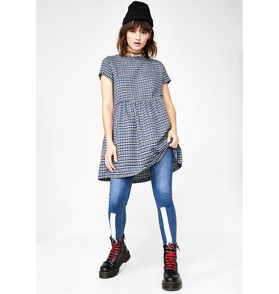 Daisy Street Check Print Smock Dress