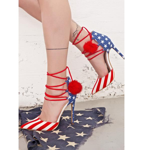American Royalty Lace-Up Heels