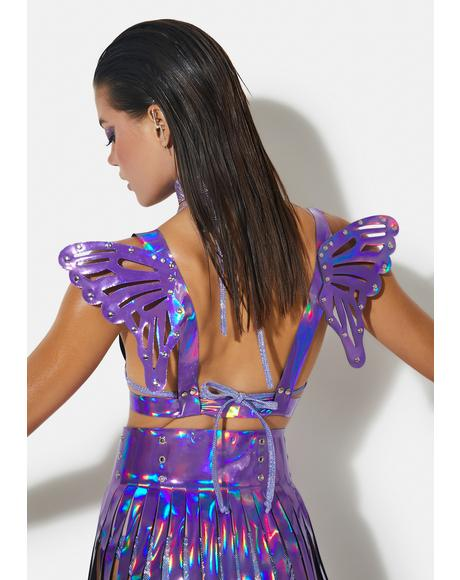 Purple Iridescent Harness With Butterfly Wings
