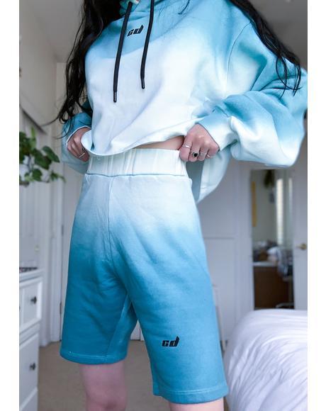 Blue Dip Dye Lounge Shorts