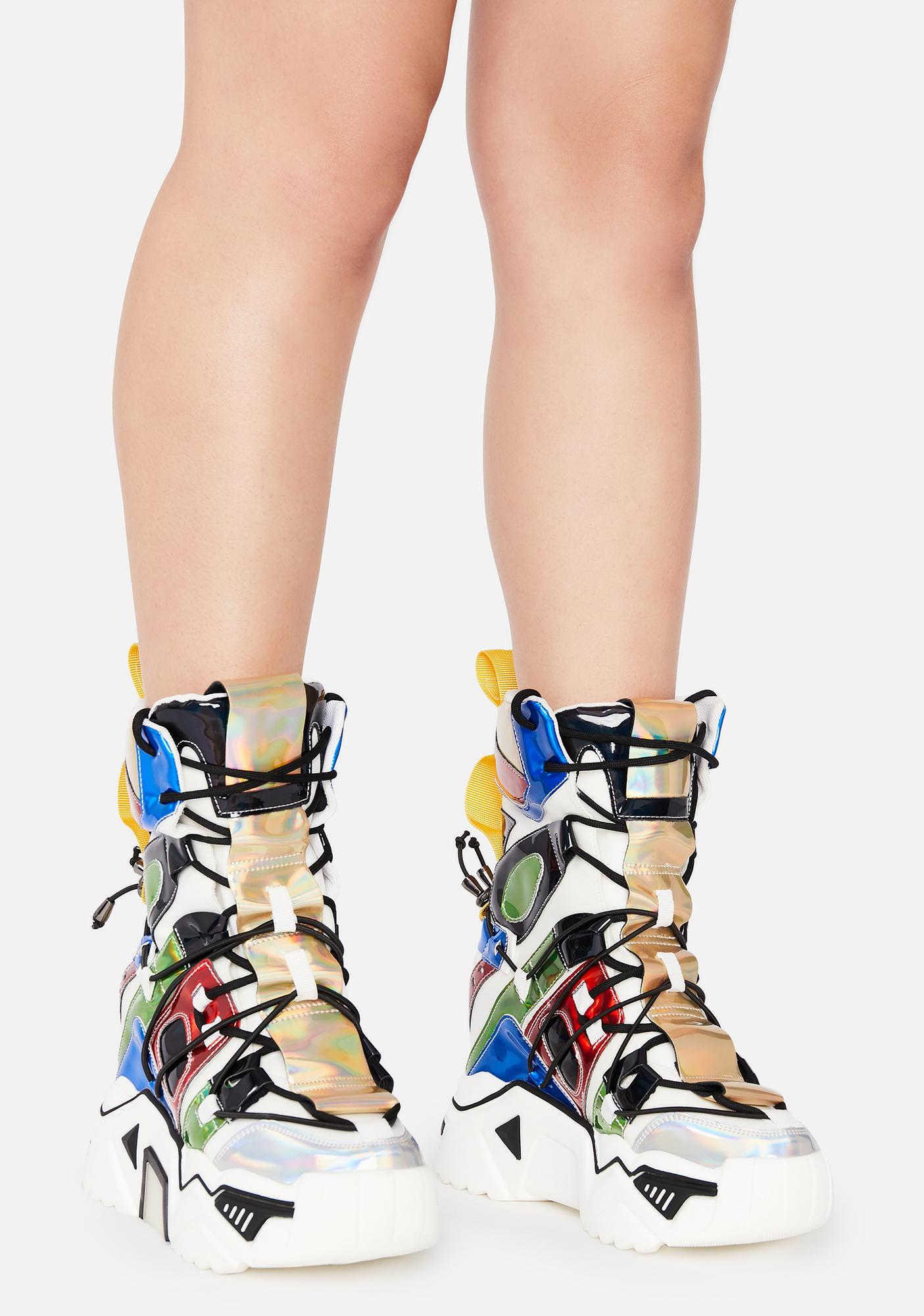 Anthony Wang White Holographic Game Changer Ankle Boots
