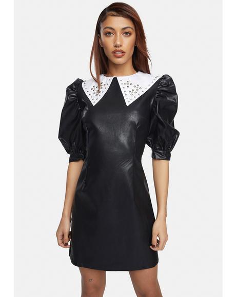 Vegan Leather Studded Collar Mini Dress