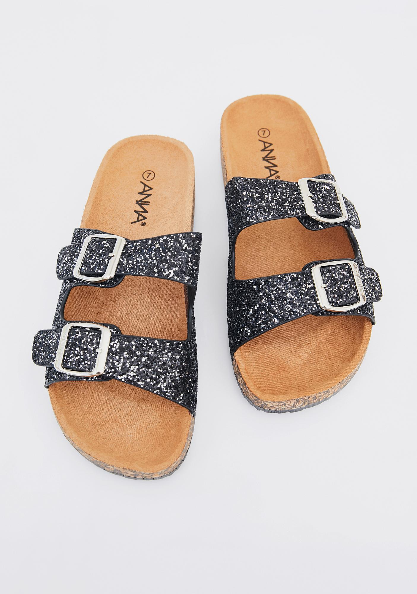 Midnight Sparkle Ur Way Glitter Sandals