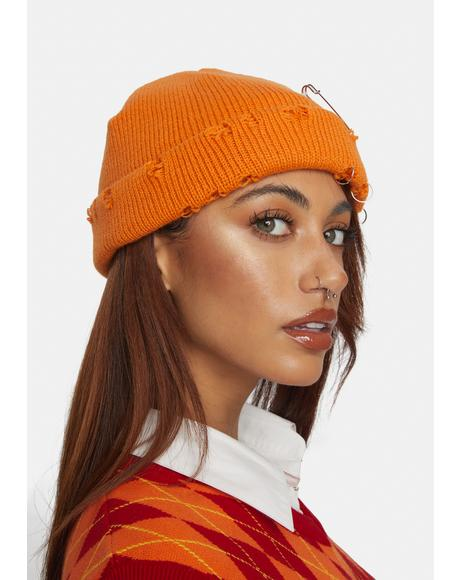 Orange Punk Attitude Distressed Beanie