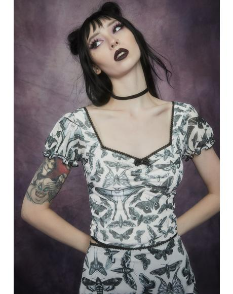 Spirit World Moth Print Mesh Top