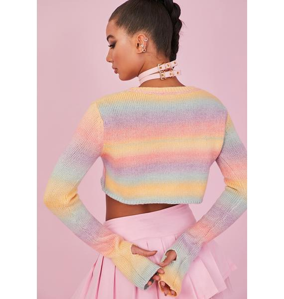 Sugar Thrillz Rainbow Sadie Hawkins Striped Sweater