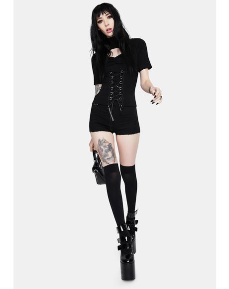 Punk Hollow Lace Up Shirt