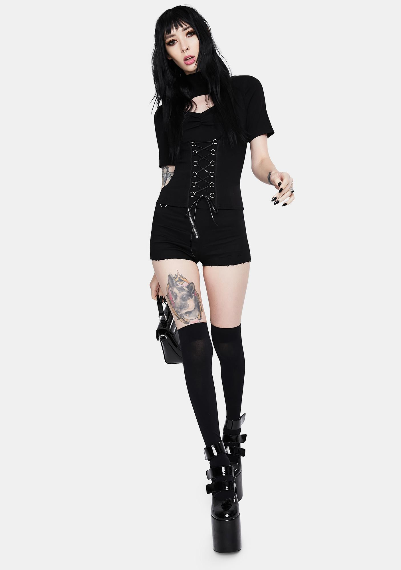 Dark In Love Punk Hollow Lace Up Shirt