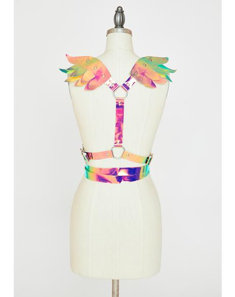 Iridescent Mini Angel Wings Harness