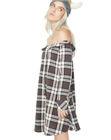 Plaid Attack Button-Up Dress