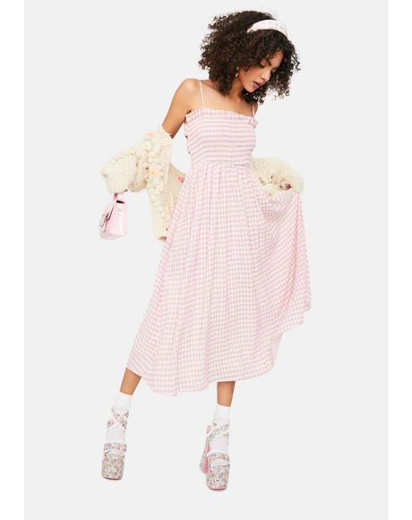 Sweet Brunch Date Gingham Midi Dress