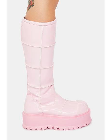 Pink Cerberus Knee High Boots