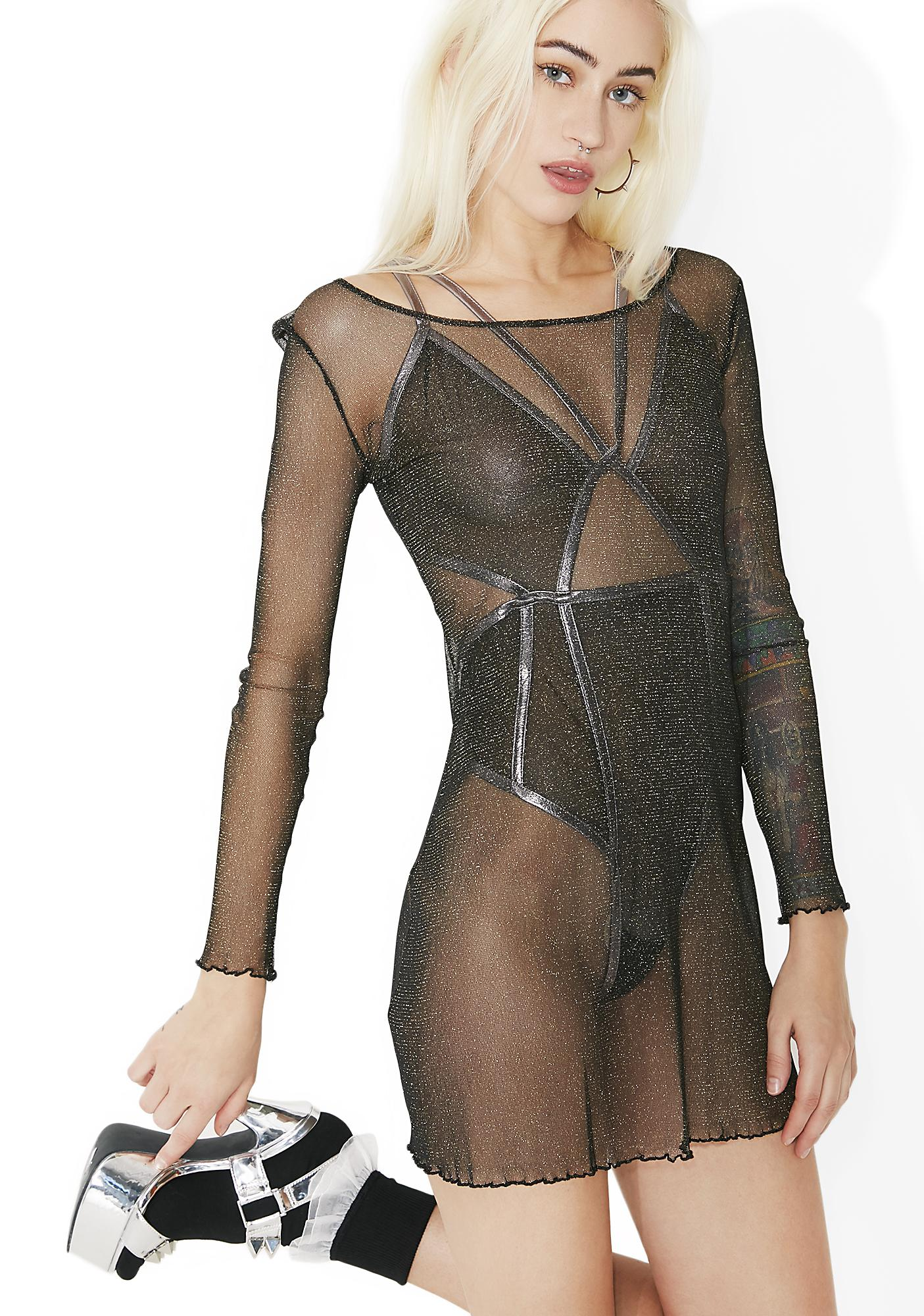 For Love & Lemons Sparkle Mesh Nightgown