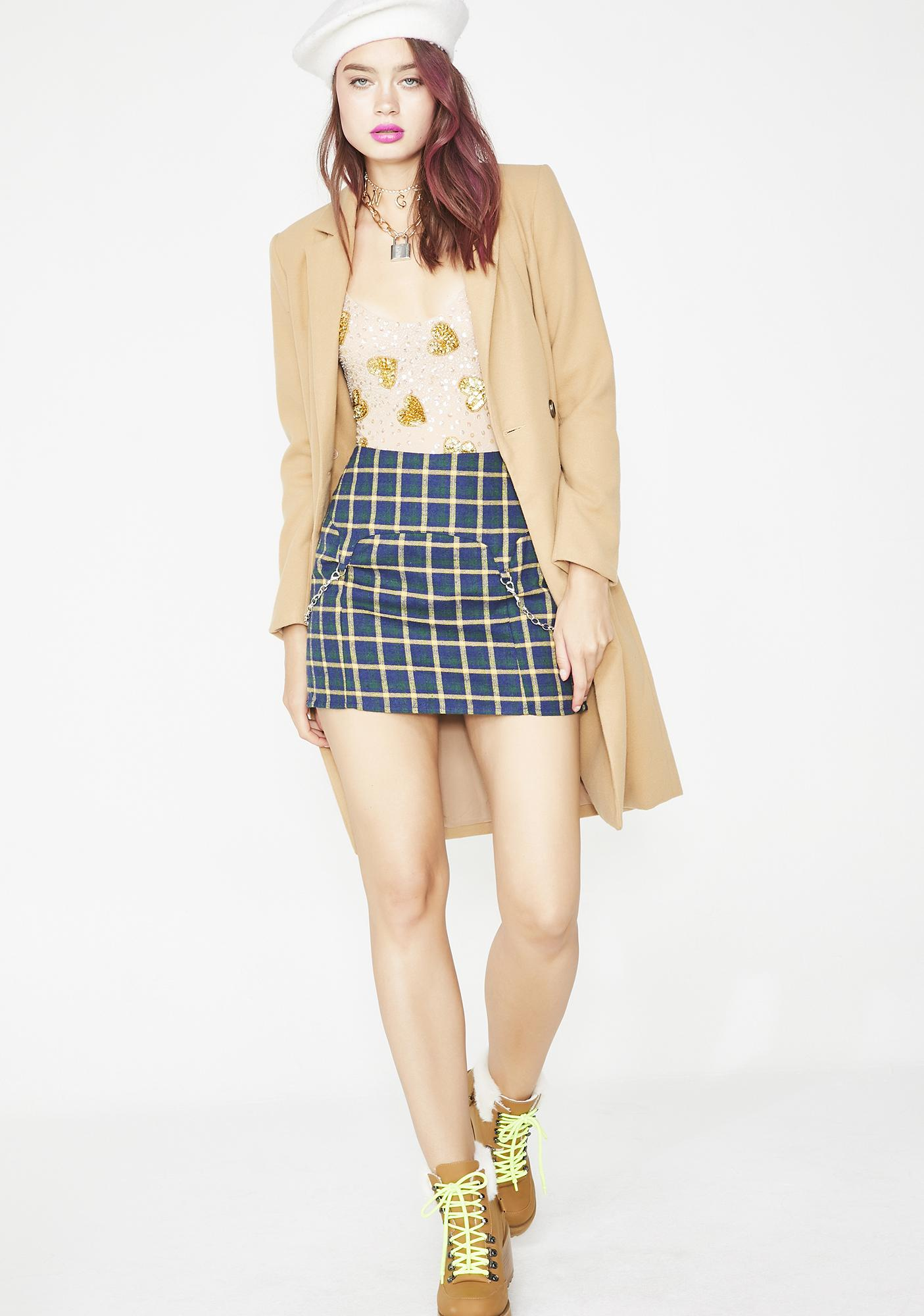 Aqua Paint The Town Plaid Skirt