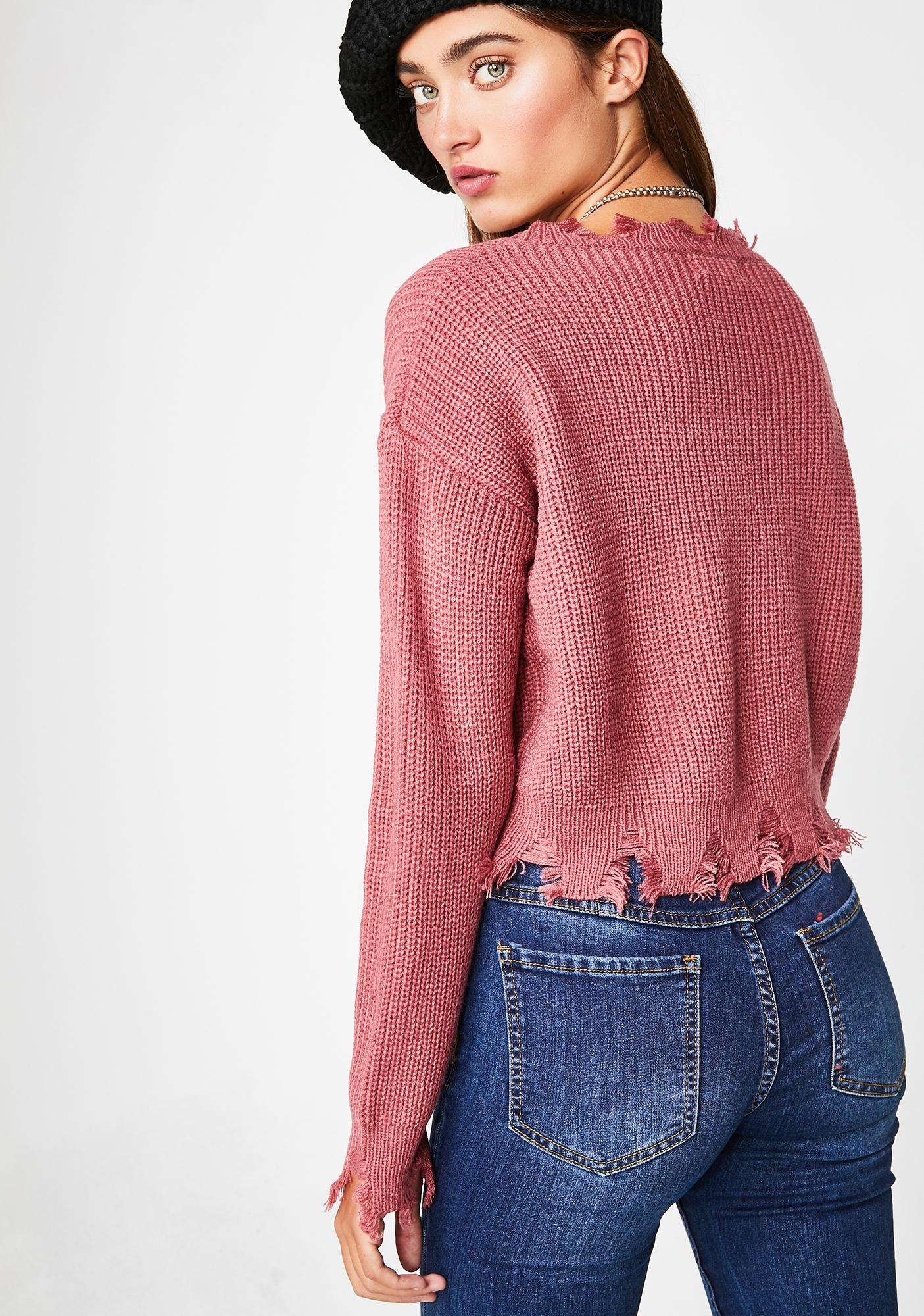 Rose No Priorities Cropped Sweater