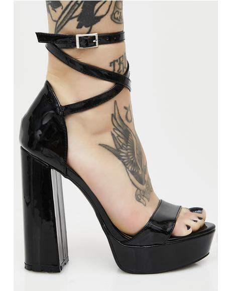 Mars Strappy Flared Heel Platforms