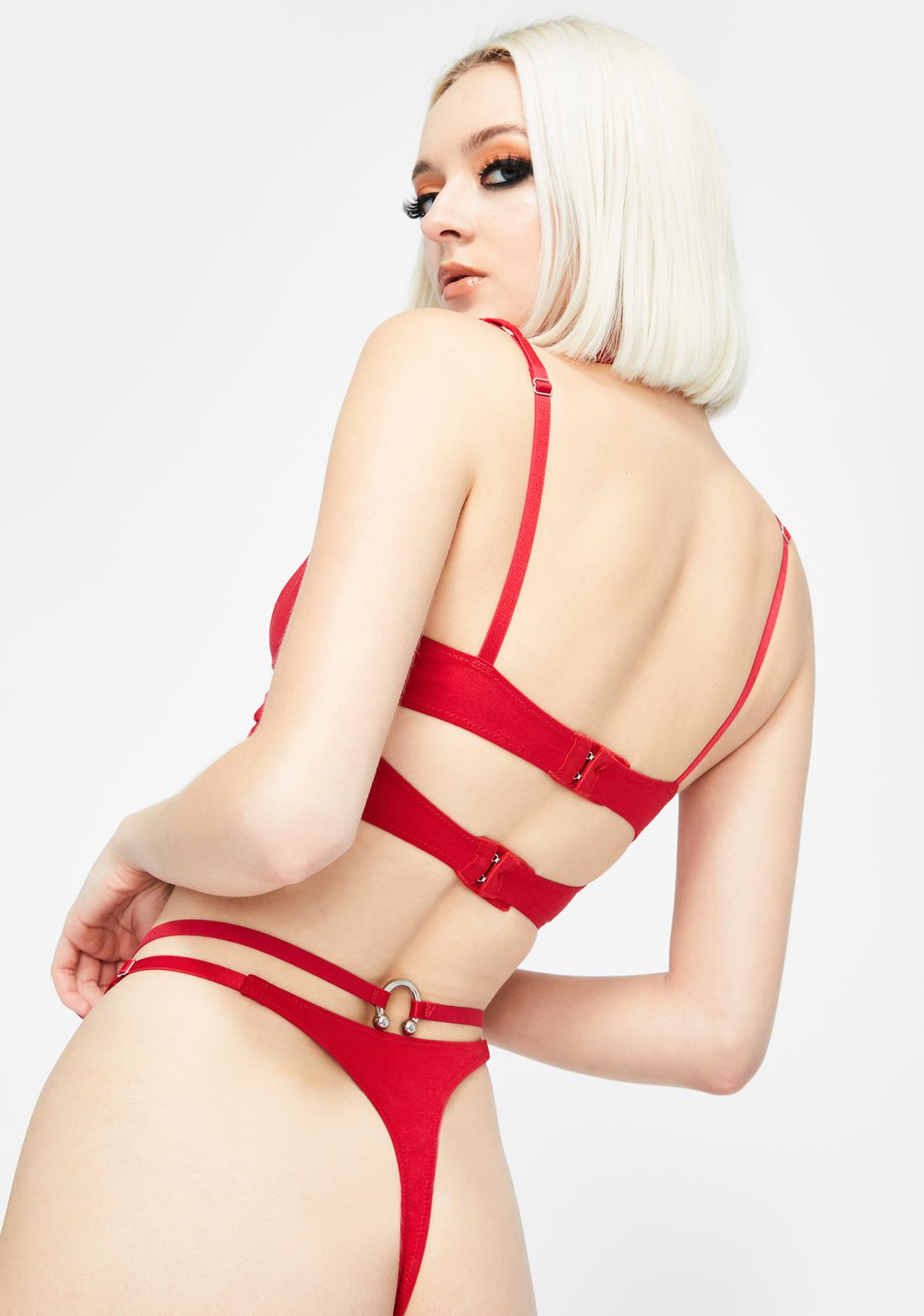 The End Lingerie Red Naked High Waist Thong