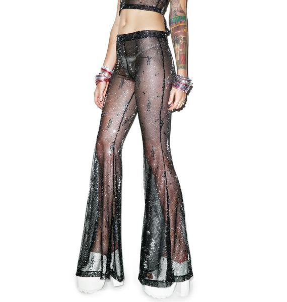 J Valentine Starry Sequin Mesh Bell Bottoms