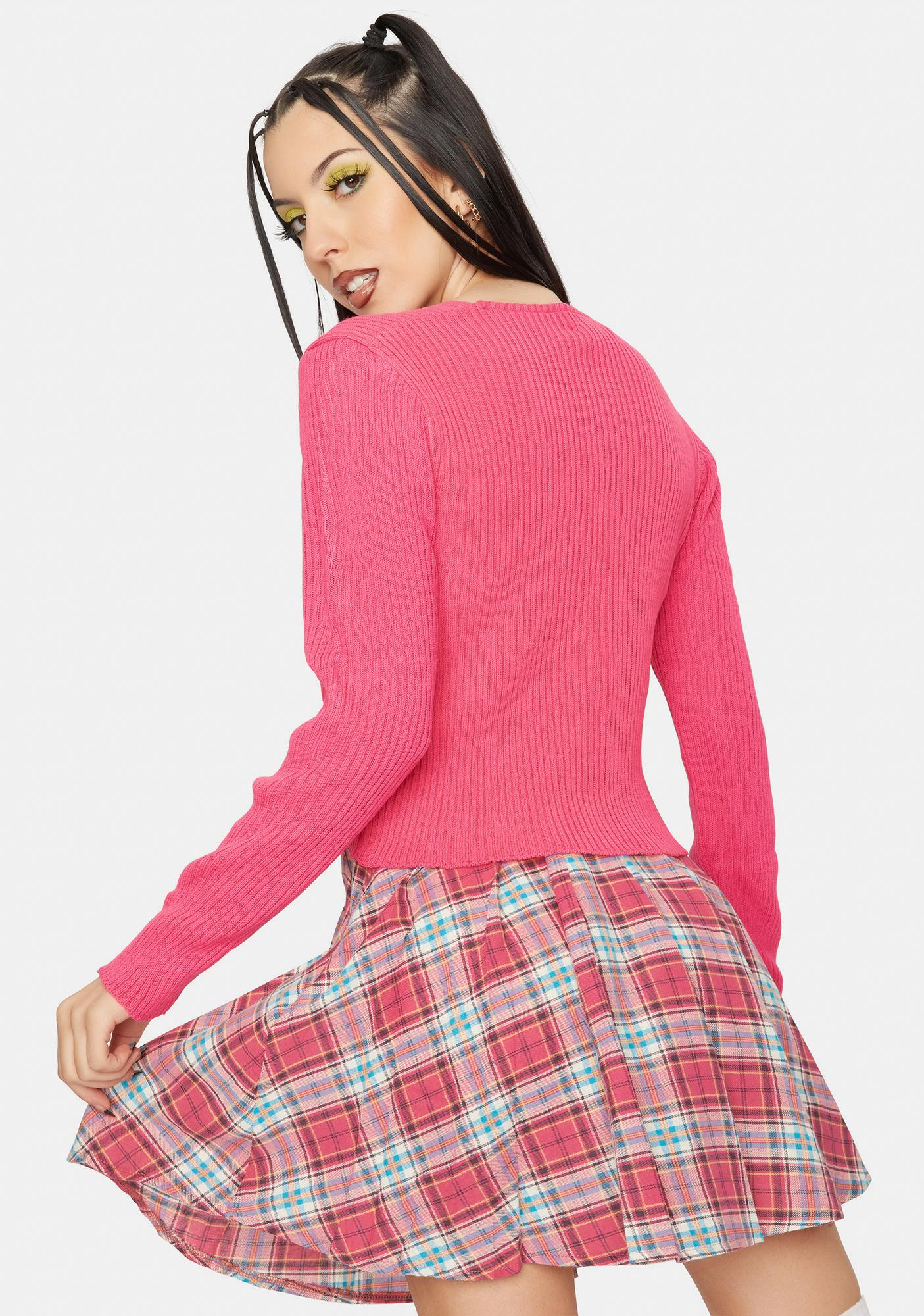 Daisy Street Pink 90's Cropped Cardigan