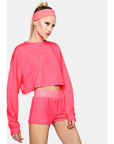 Fuchsia Feel The Rush Cropped Long Sleeve