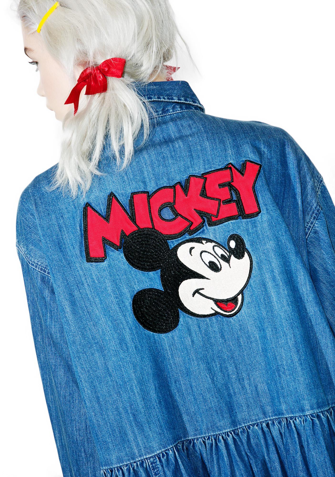 Lazy Oaf X Disney Mickey Mouse Loose Denim Dress