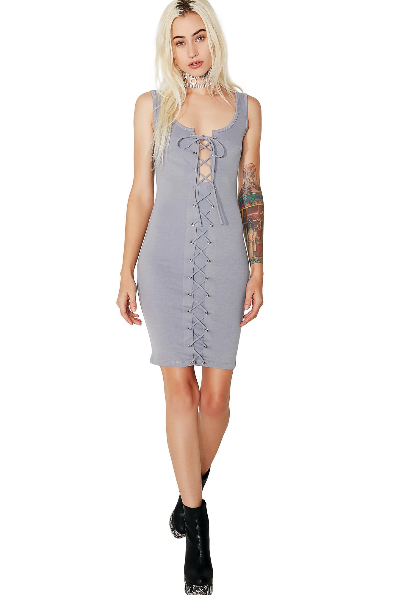 Misty-Eyed Lace-Up Dress