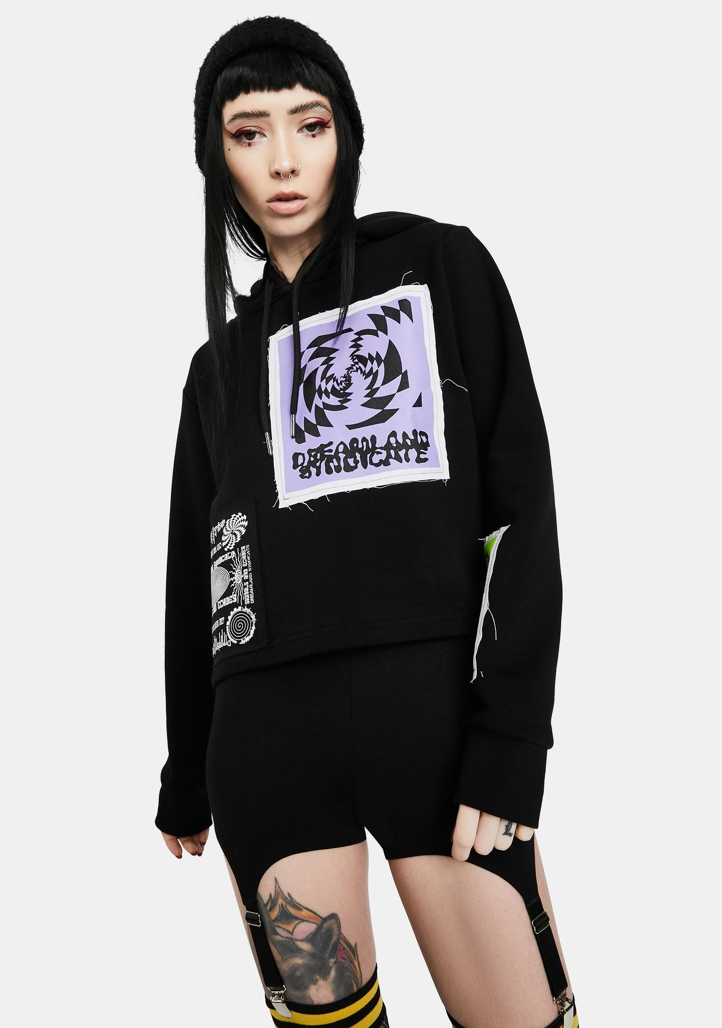 Dreamland Syndicate Signals Echoes Cropped Hoodie With Patches