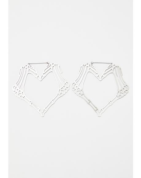 Heart Skull Hand Earrings