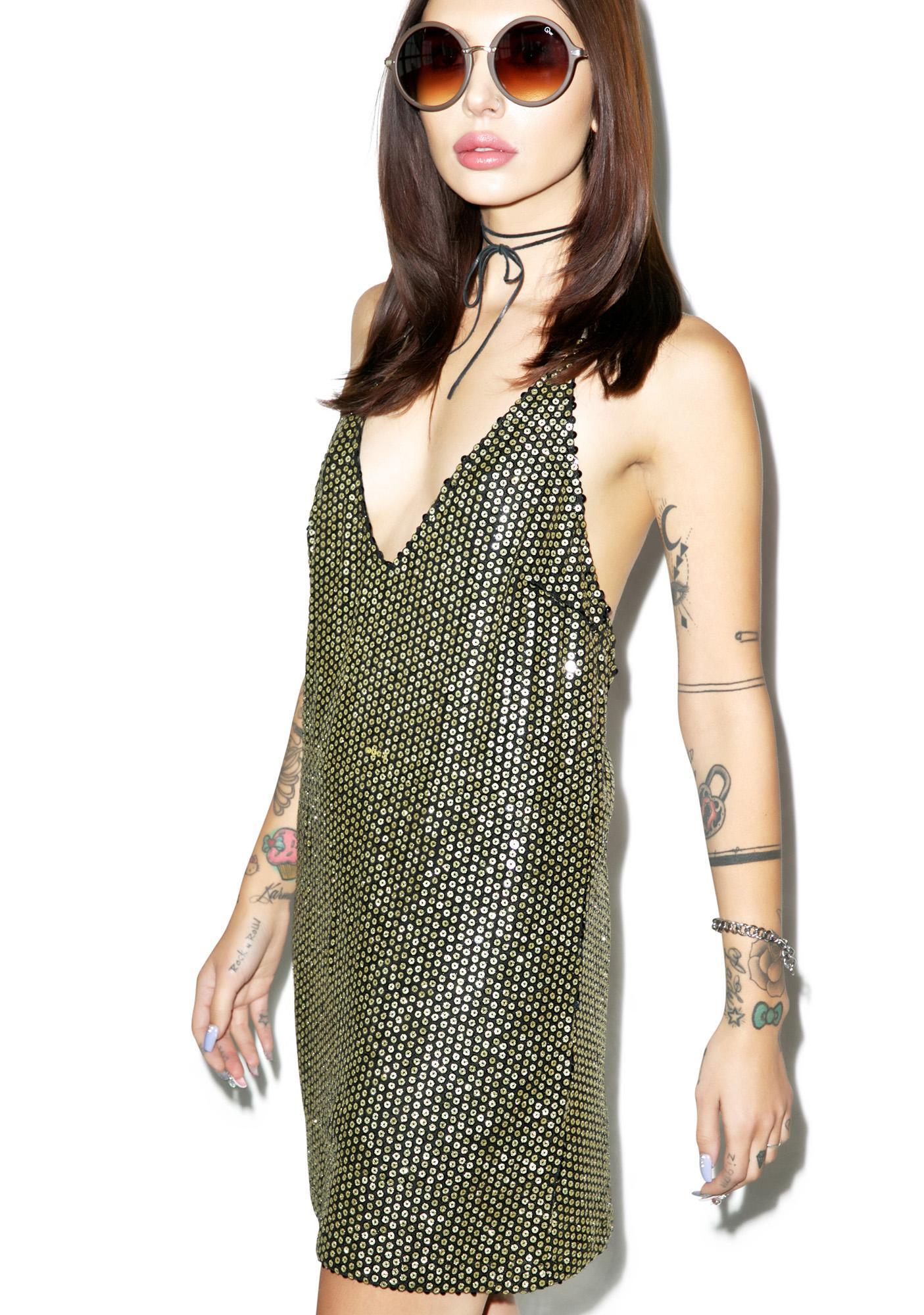 Motel Allie Sequin Slip Dress - Dolls Kill